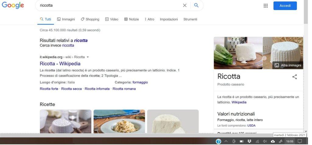 ricerca google riccotta